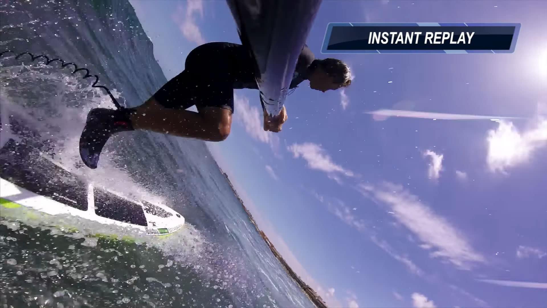Vidéo d'un crash sur les rochers en Sup Foil