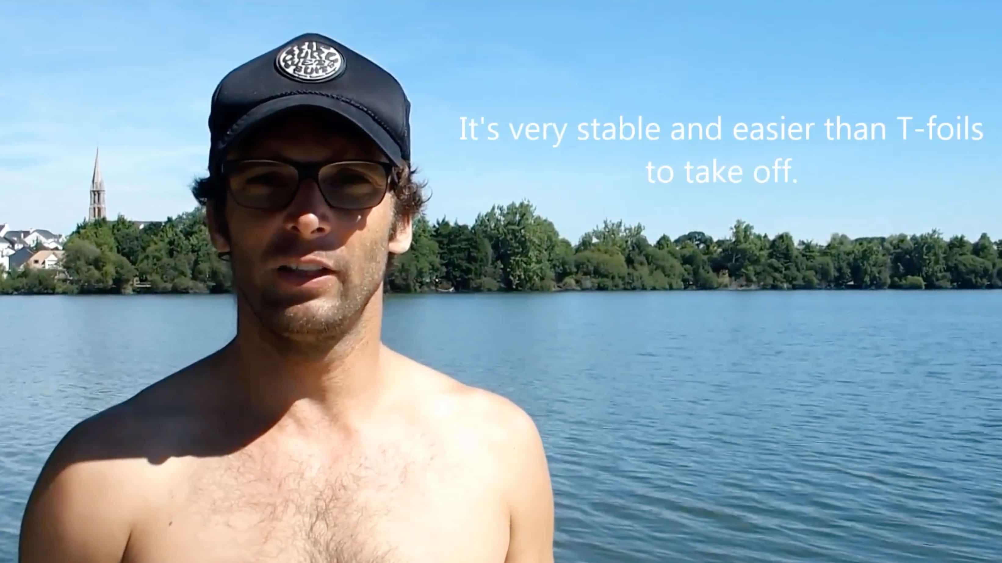 Vidéo d'un stand up paddle foil de race avec Eric Terrien ! width=