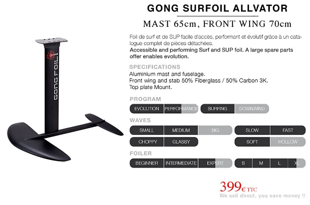 Pack Gong 4'6 Catch 3CS & Surf foil Allvator 65M