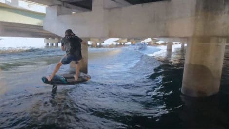 The Bridge, epic wake foil session